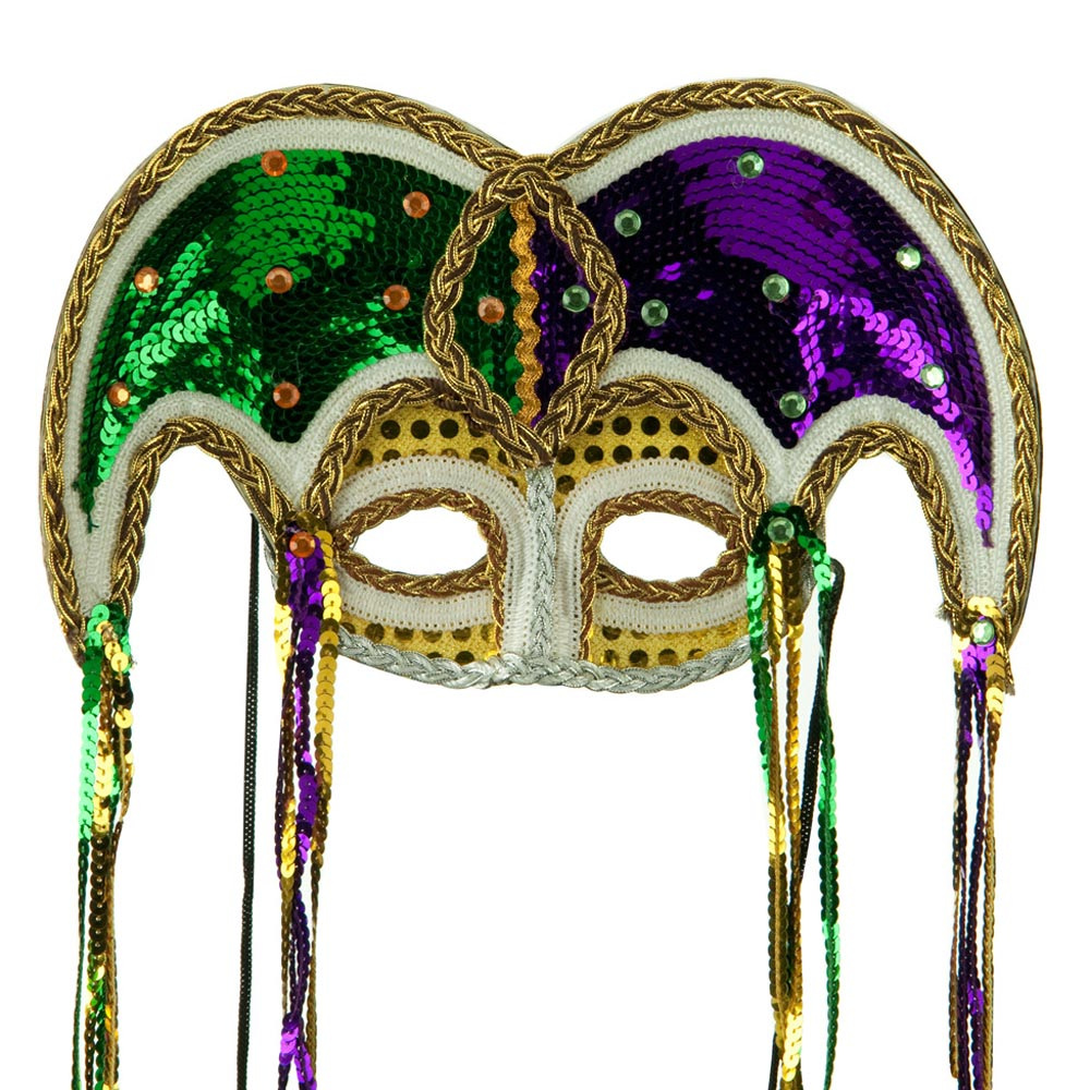 Luxury Mardi Gras Sequin Mask - Green Purple Gold - Hats and Caps Online Shop - Hip Head Gear