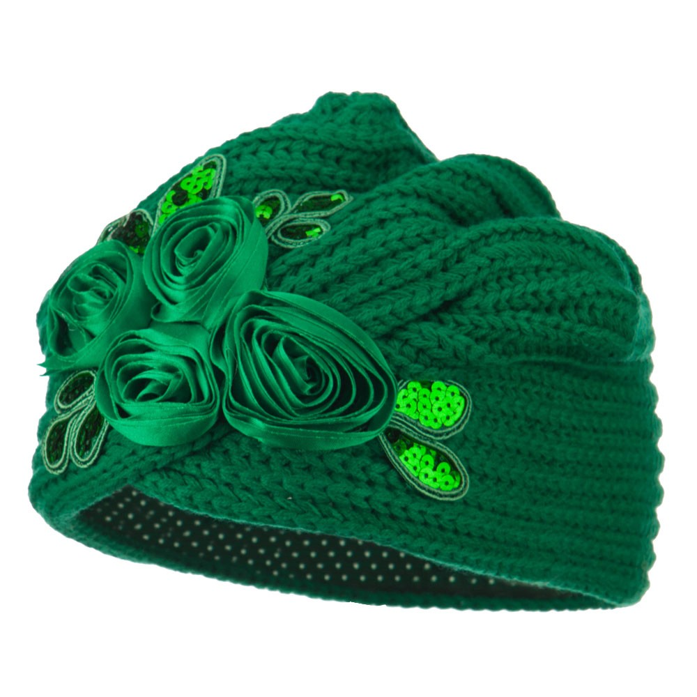 Flower Sequins Knit Turban - Emerald