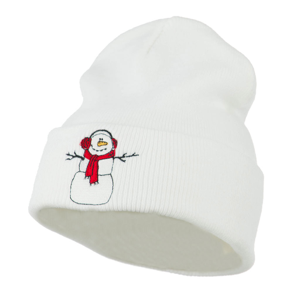 Snowman Scarf Earmuff Embroidered Beanie - White - Hats and Caps Online Shop - Hip Head Gear