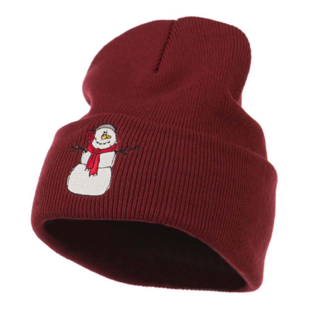 Snowman Scarf Earmuff Embroidered Beanie - Maroon - Hats and Caps Online Shop - Hip Head Gear