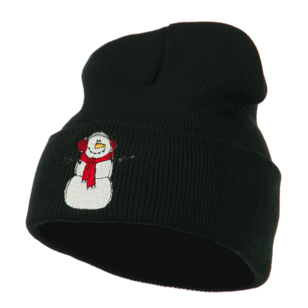 Snowman Scarf Earmuff Embroidered Beanie - Black - Hats and Caps Online Shop - Hip Head Gear