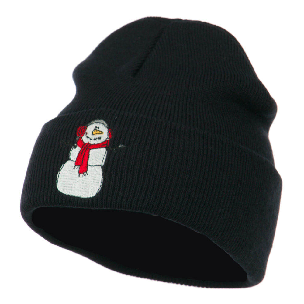 Snowman Scarf Earmuff Embroidered Beanie - Navy - Hats and Caps Online Shop - Hip Head Gear