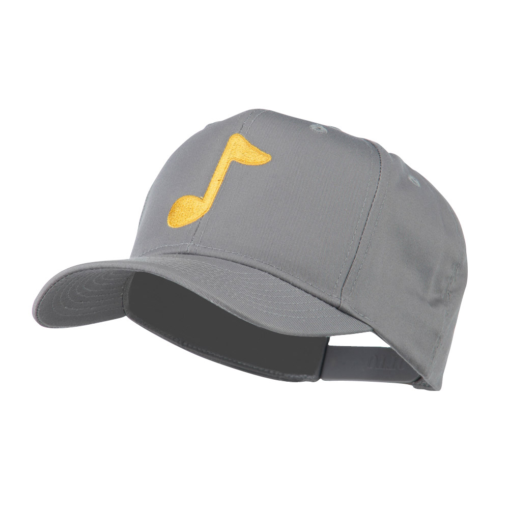 Eighth Note Music Symbol Embroidered Cap - Grey - Hats and Caps Online Shop - Hip Head Gear