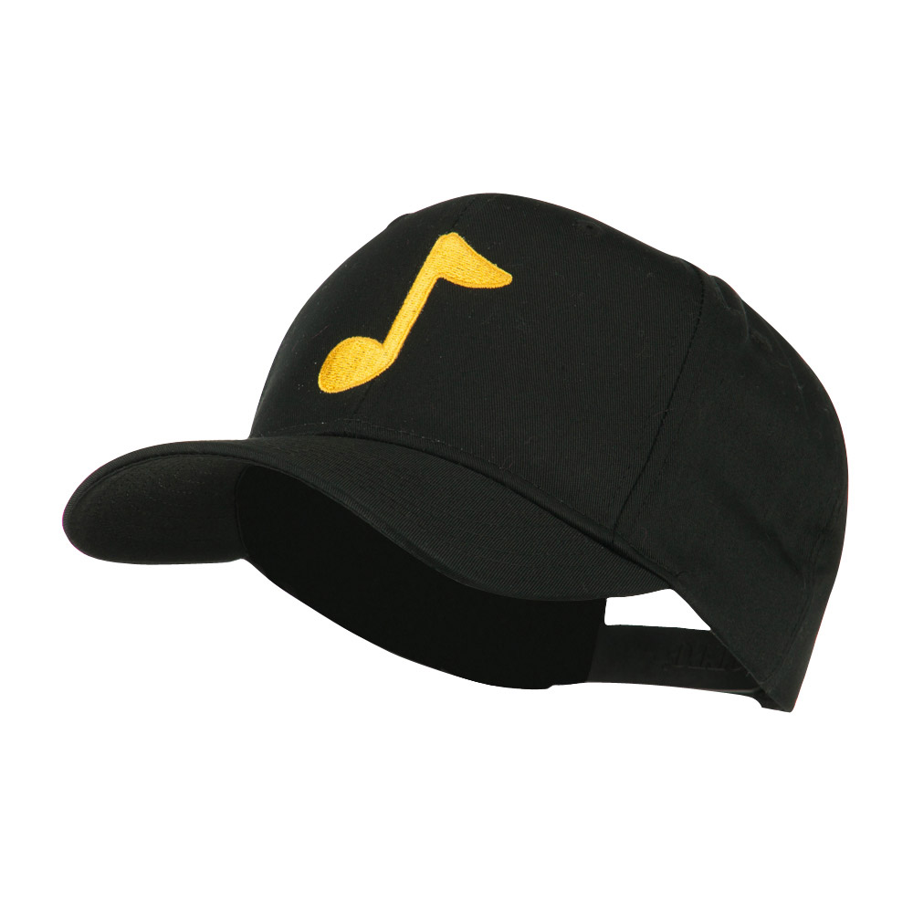 Eighth Note Music Symbol Embroidered Cap - Black - Hats and Caps Online Shop - Hip Head Gear