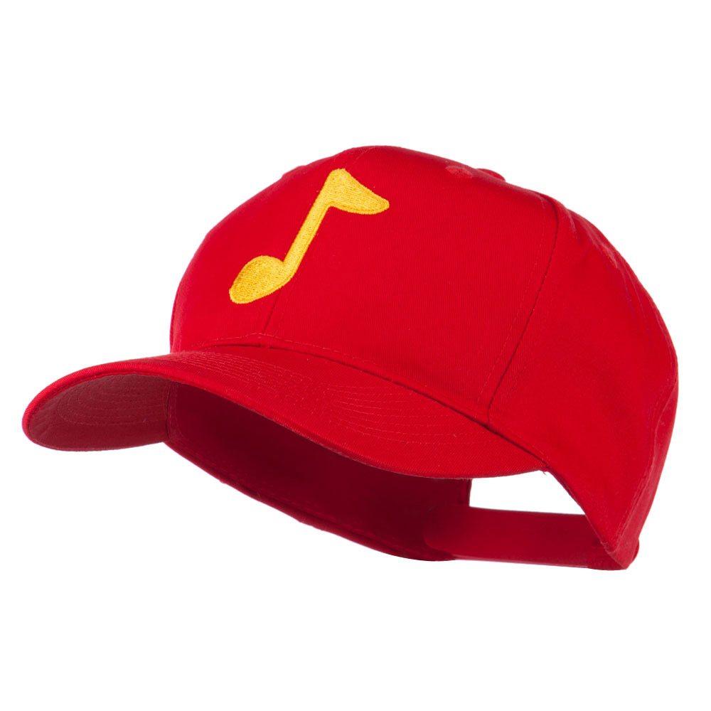 Eighth Note Music Symbol Embroidered Cap - Red - Hats and Caps Online Shop - Hip Head Gear