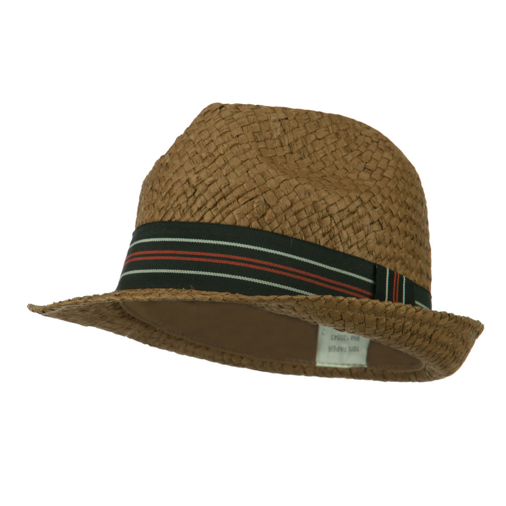 Boy's Paper Woven Stripeband Fedora - Brown - Hats and Caps Online Shop - Hip Head Gear