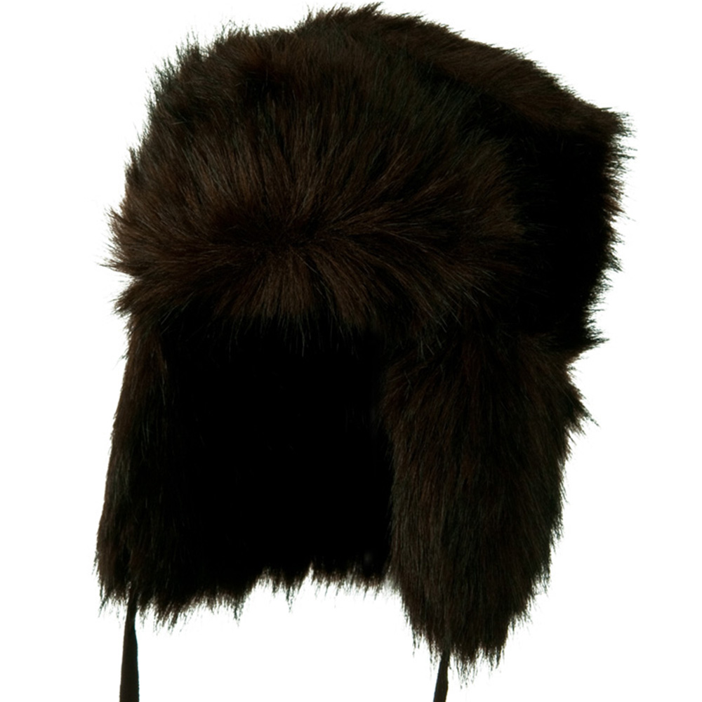 Faux Fur Ear Flap Trooper Hat -  Black Brown - Hats and Caps Online Shop - Hip Head Gear