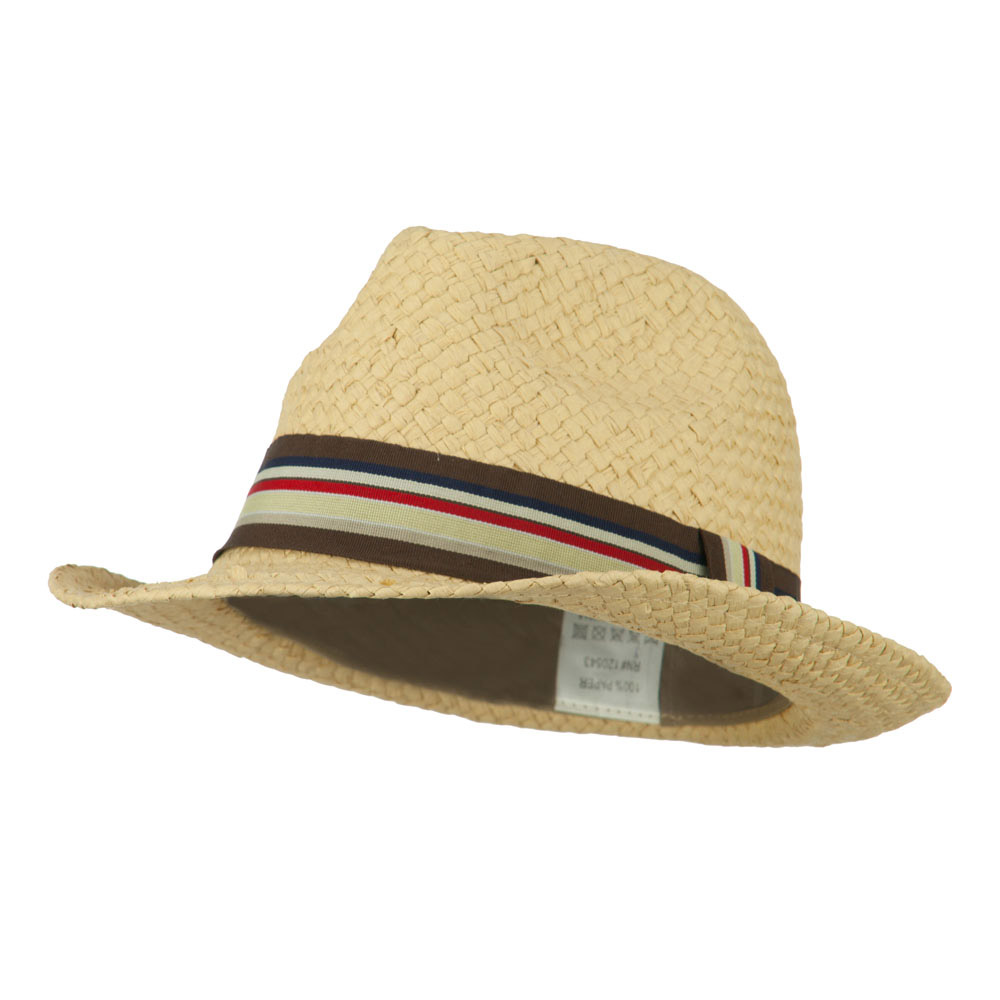 Boy's Paper Woven Stripeband Fedora - Tan - Hats and Caps Online Shop - Hip Head Gear
