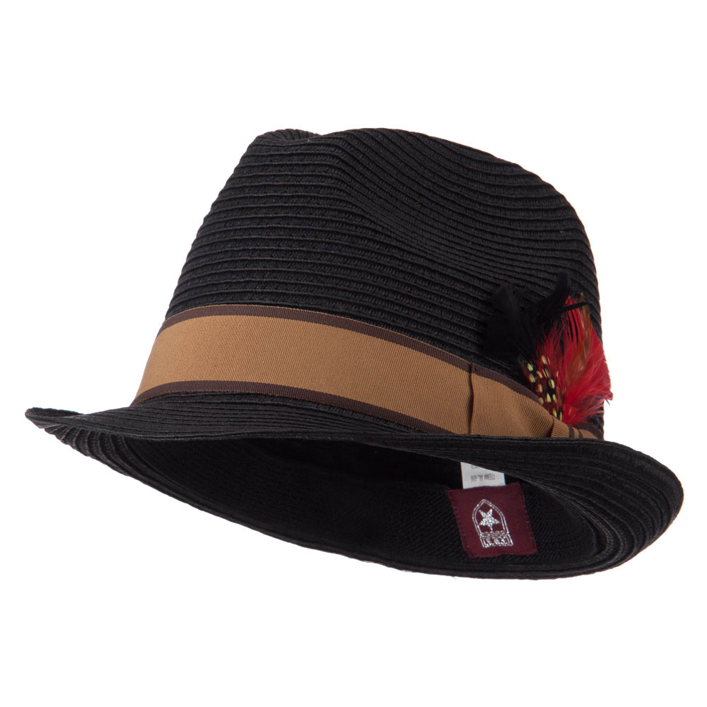 Feather Accented Band Straw Fedora - Black - Hats and Caps Online Shop - Hip Head Gear