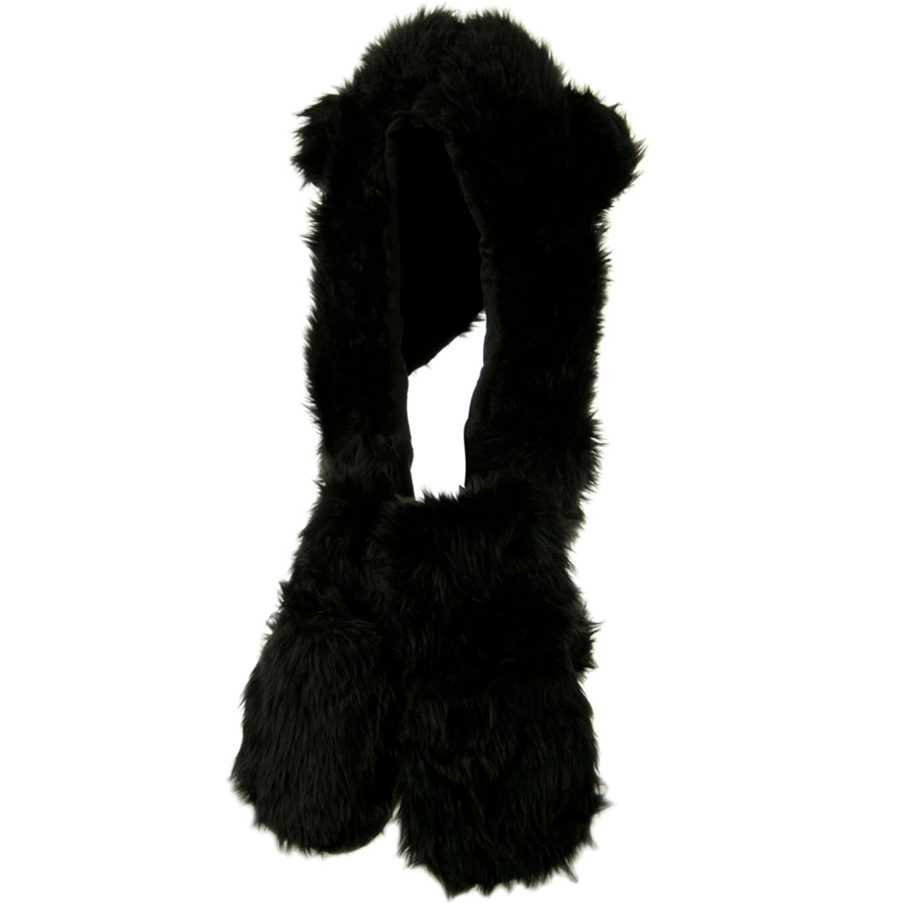 Furry Animal Hat with Paws - Black Bear - Hats and Caps Online Shop - Hip Head Gear