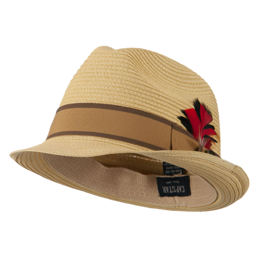 Feather Accented Band Straw Fedora - Natural - Hats and Caps Online Shop - Hip Head Gear