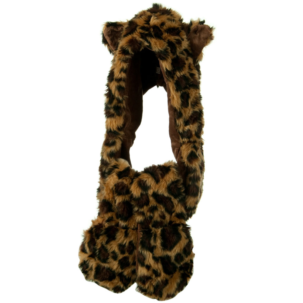 Furry Animal Hat with Paws - Leopard - Hats and Caps Online Shop - Hip Head Gear