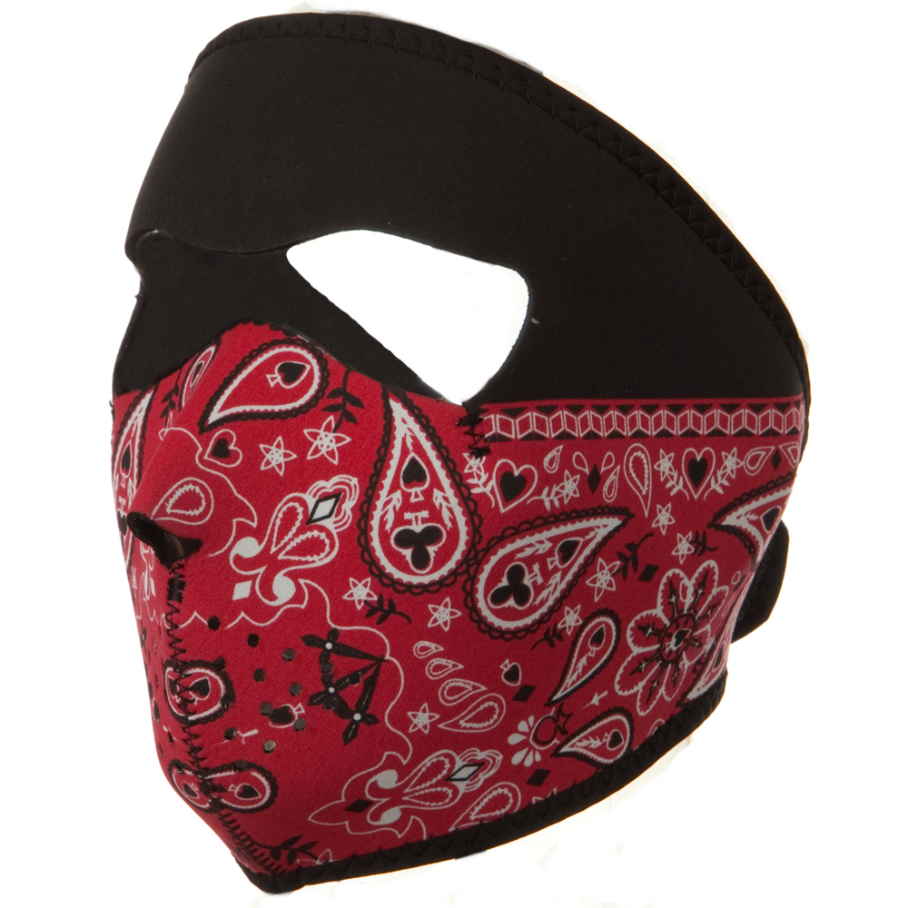 Neoprene Full Face Mask - Red Paisley - Hats and Caps Online Shop - Hip Head Gear