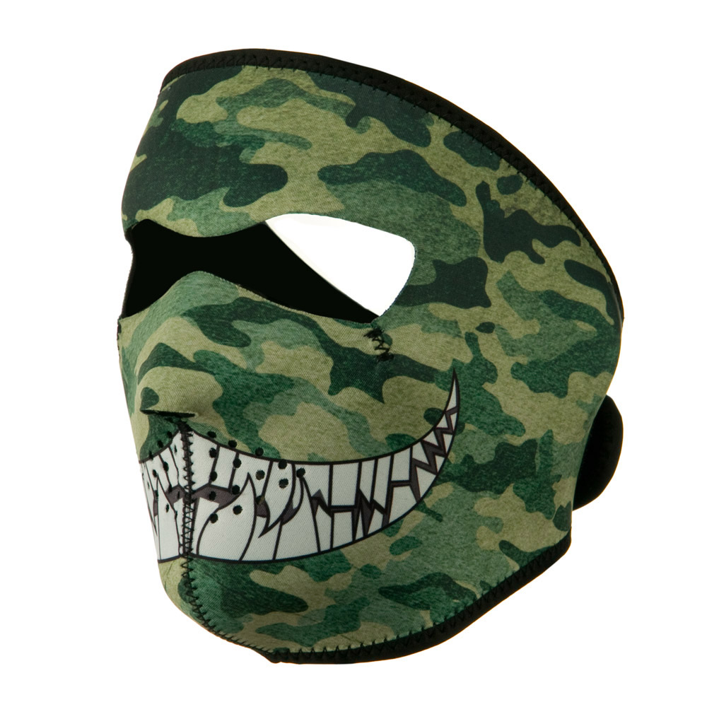 Neoprene Full Face Mask - Woodland Camo with Teeth - Hats and Caps Online Shop - Hip Head Gear