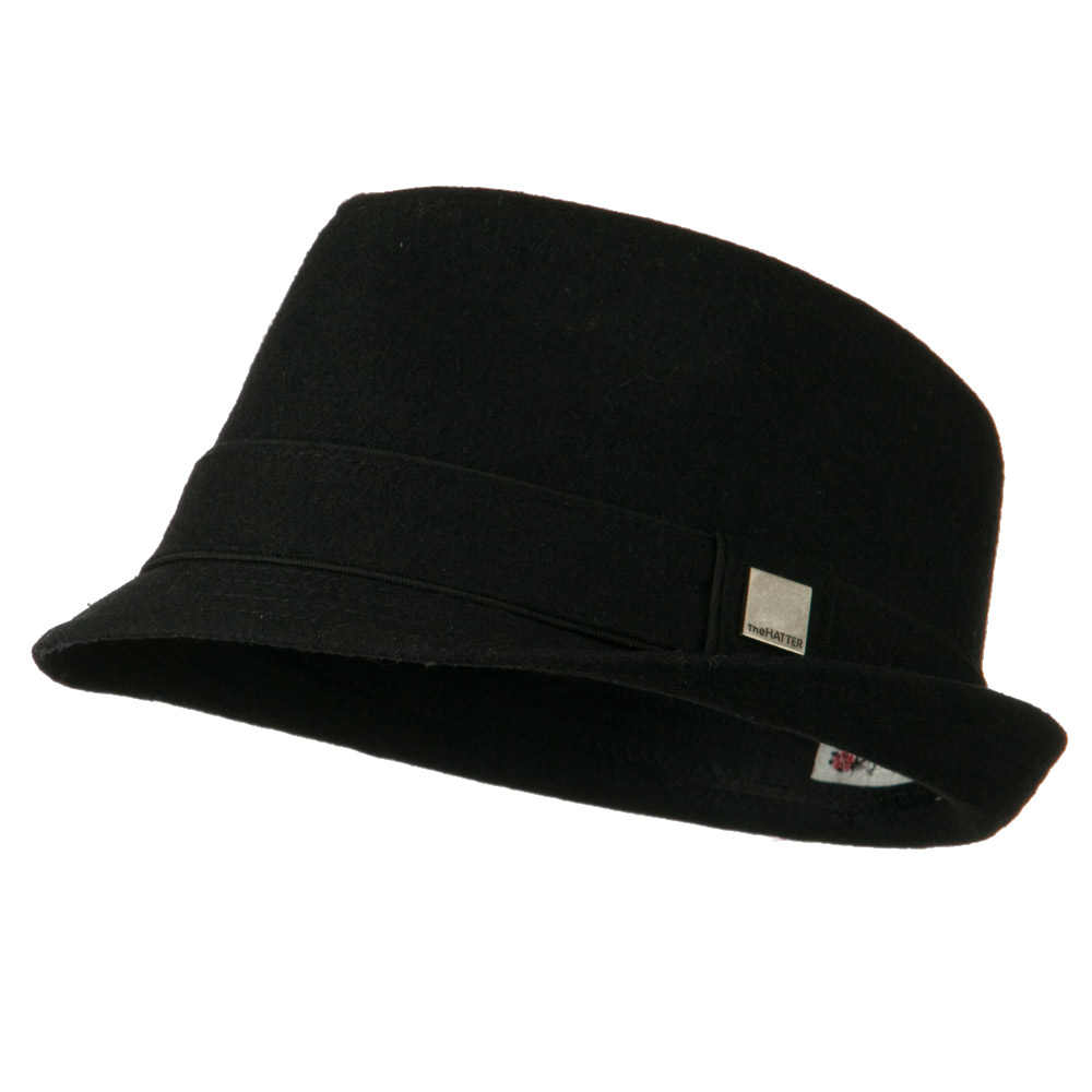 Fedora Hat with Solid Band - Black - Hats and Caps Online Shop - Hip Head Gear