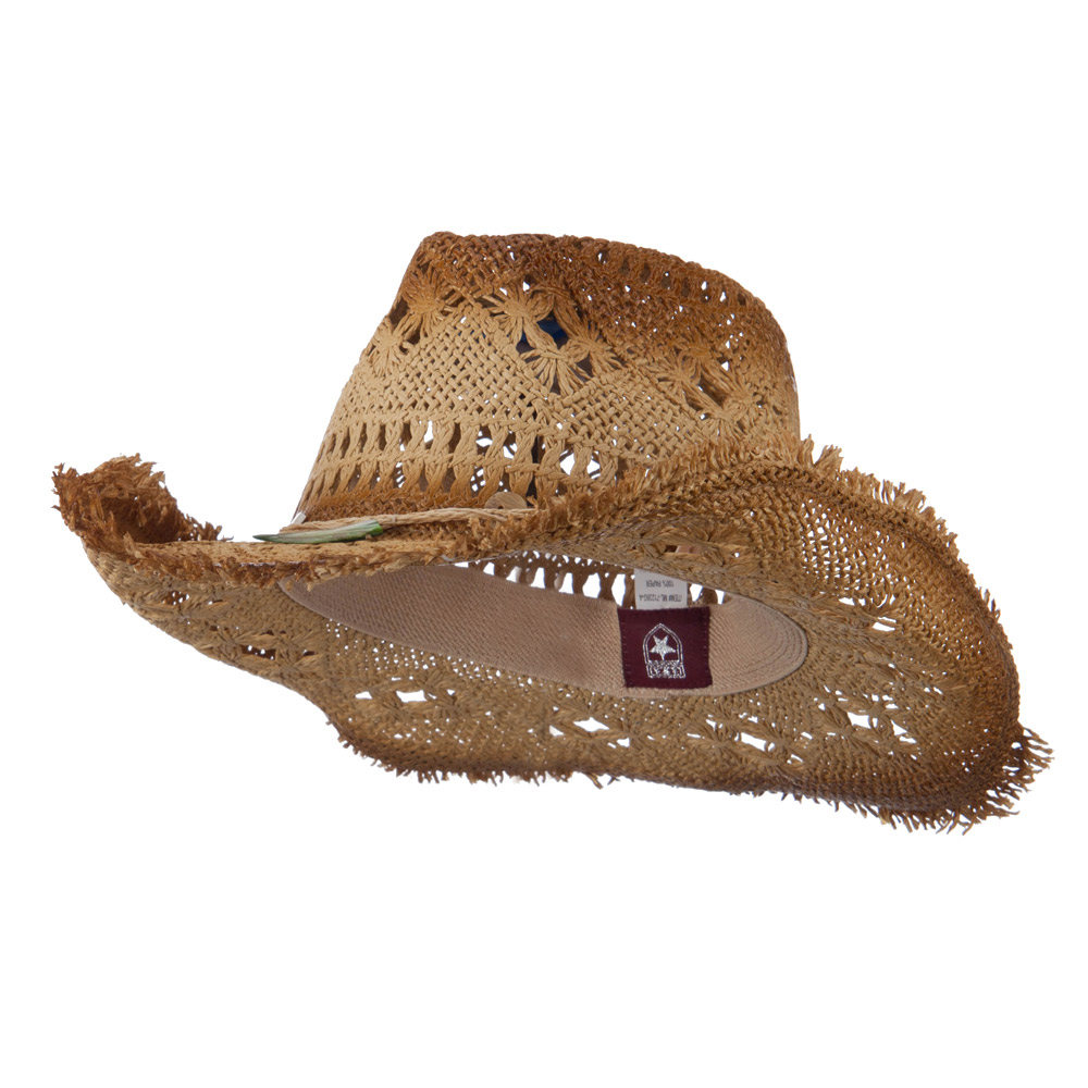 Painted Frayed Brim Cowboy Hat - Natural - Hats and Caps Online Shop - Hip Head Gear