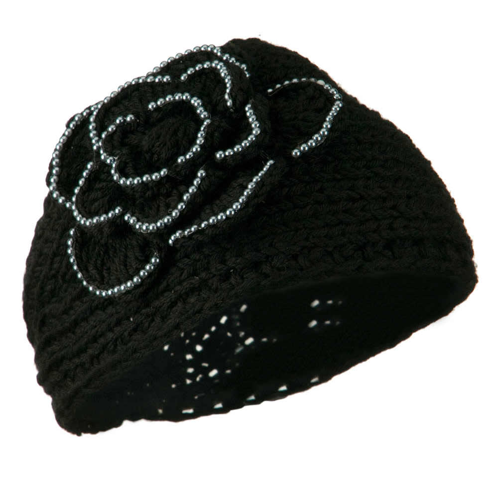 Flower Bead Woman's Head Band - Black - Hats and Caps Online Shop - Hip Head Gear