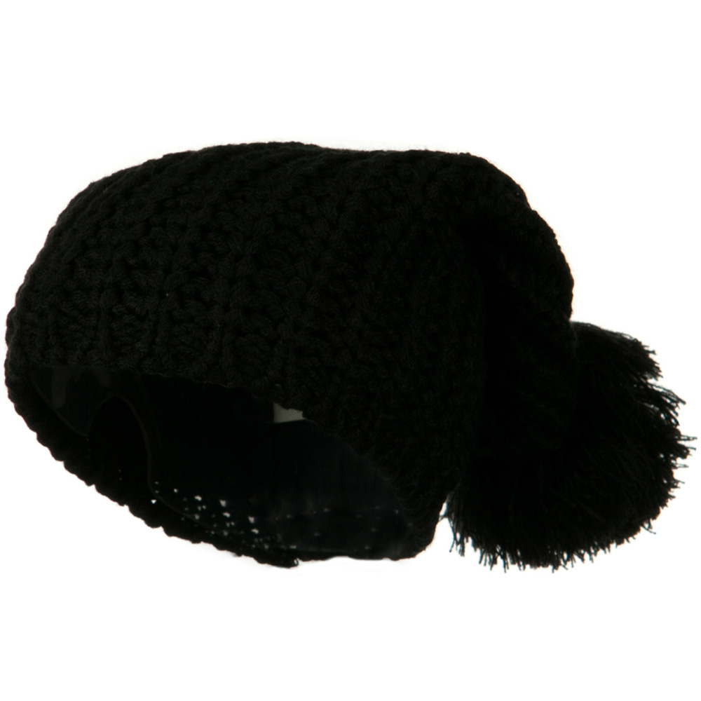 Fall Back Pom Pom Knit Hat - Black - Hats and Caps Online Shop - Hip Head Gear