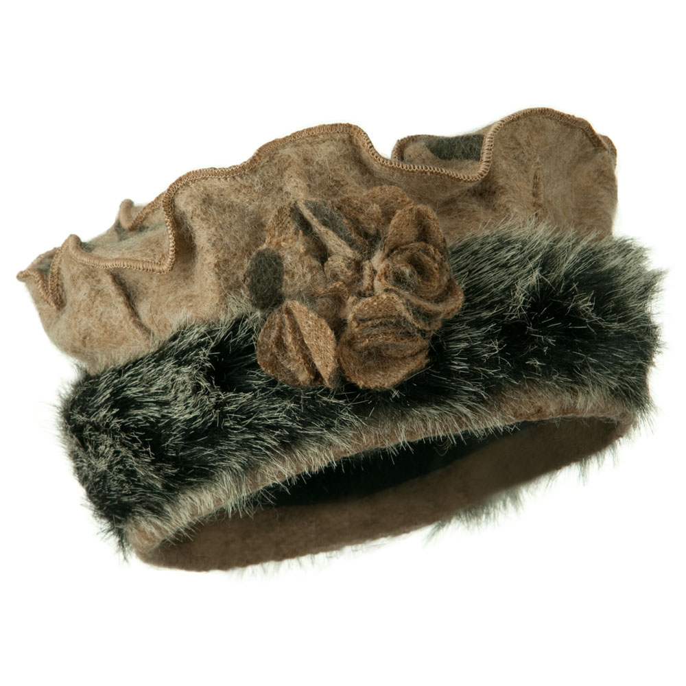 Fur Trim Wool Beret - Camel - Hats and Caps Online Shop - Hip Head Gear