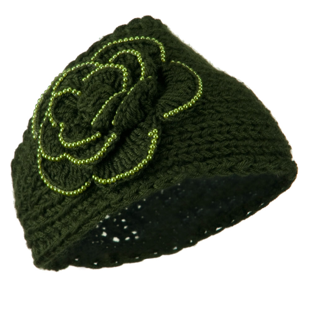 Flower Bead Woman's Head Band - Dark Green