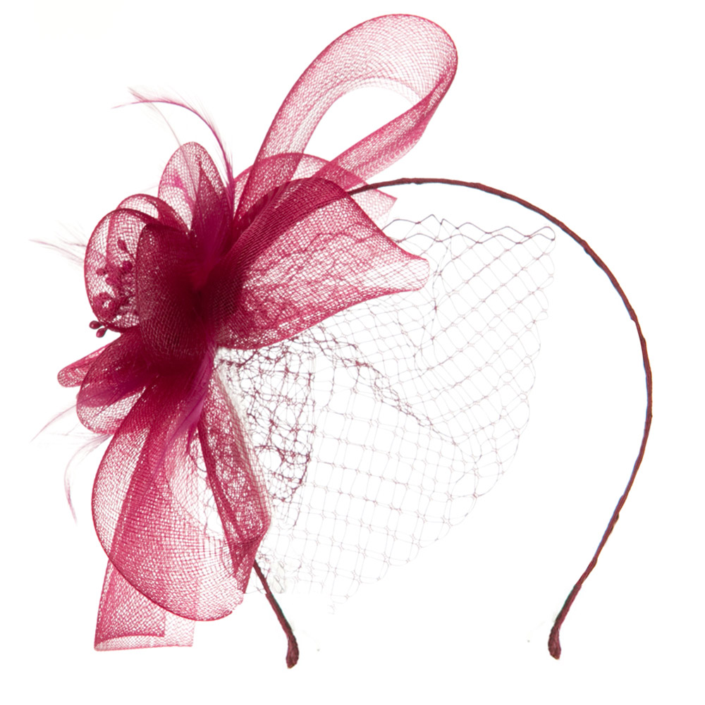 Mesh Flower with Netting Ribbon Head Band - Burgundy - Hats and Caps Online Shop - Hip Head Gear