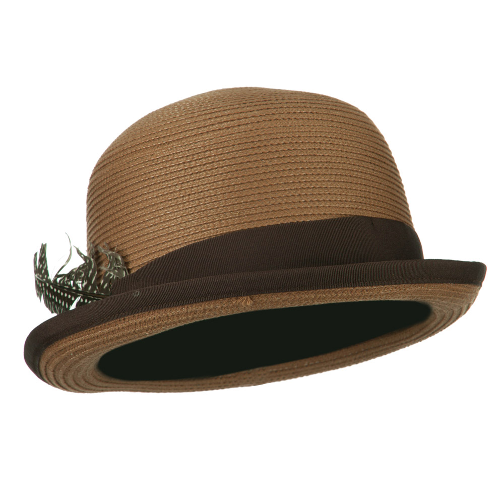Women's Feather Bowler Fedora - Light Brown - Hats and Caps Online Shop - Hip Head Gear