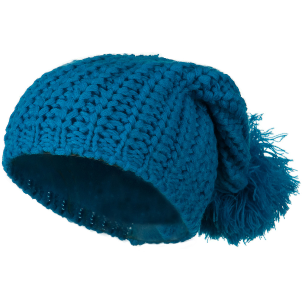 Fall Back Pom Pom Knit Hat - Turquoise - Hats and Caps Online Shop - Hip Head Gear