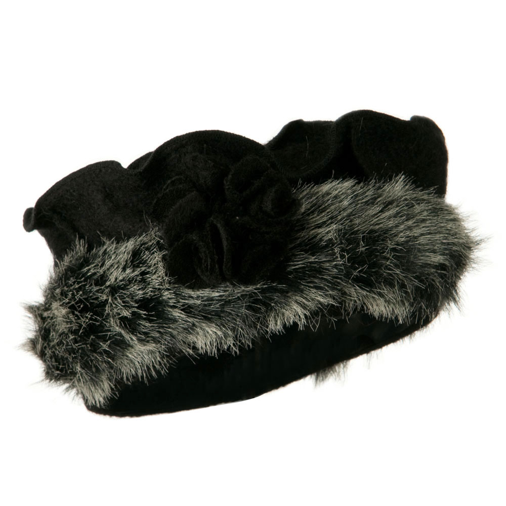 Fur Trim Wool Beret - Black - Hats and Caps Online Shop - Hip Head Gear