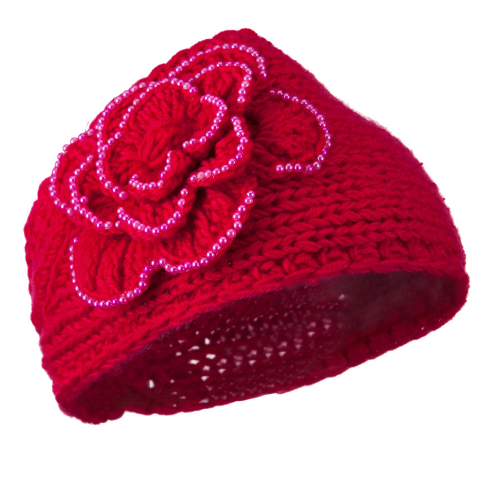 Flower Bead Woman's Head Band - Fuchsia - Hats and Caps Online Shop - Hip Head Gear