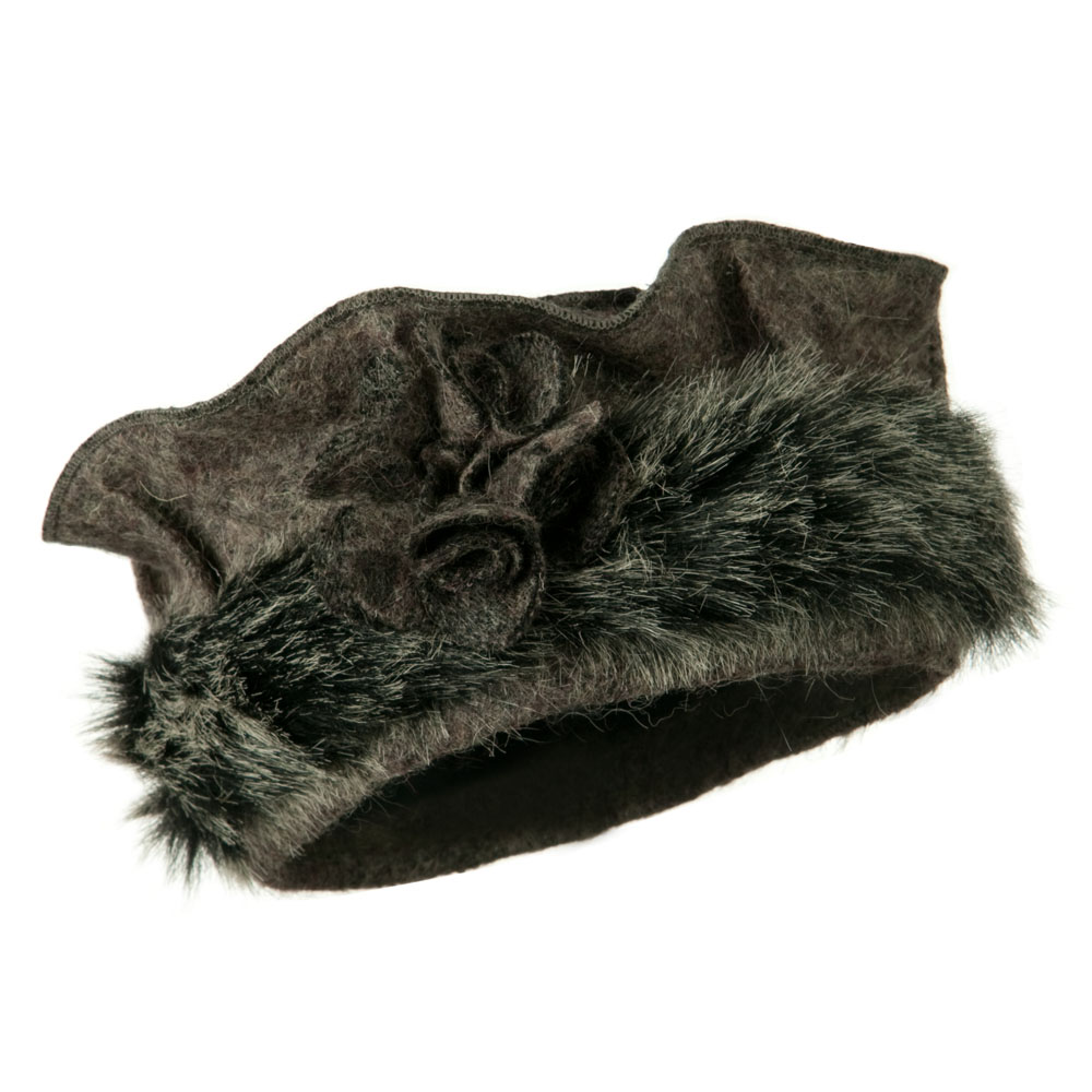 Fur Trim Wool Beret - Grey - Hats and Caps Online Shop - Hip Head Gear