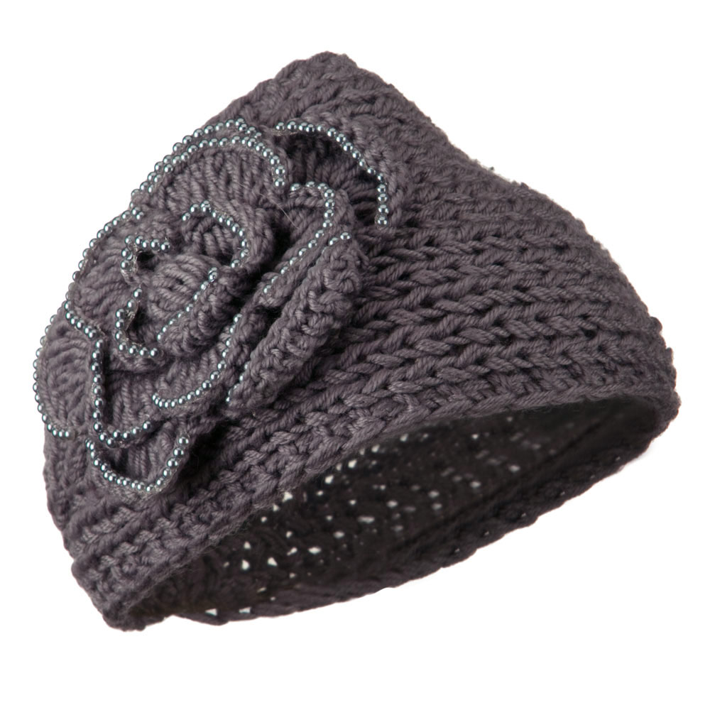 Flower Bead Woman's Head Band - Grey - Hats and Caps Online Shop - Hip Head Gear