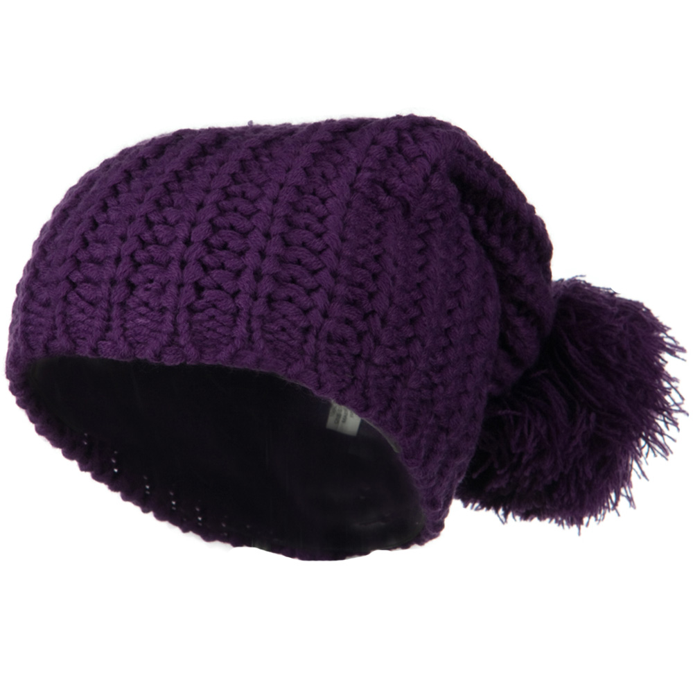 Fall Back Pom Pom Knit Hat - Purple - Hats and Caps Online Shop - Hip Head Gear