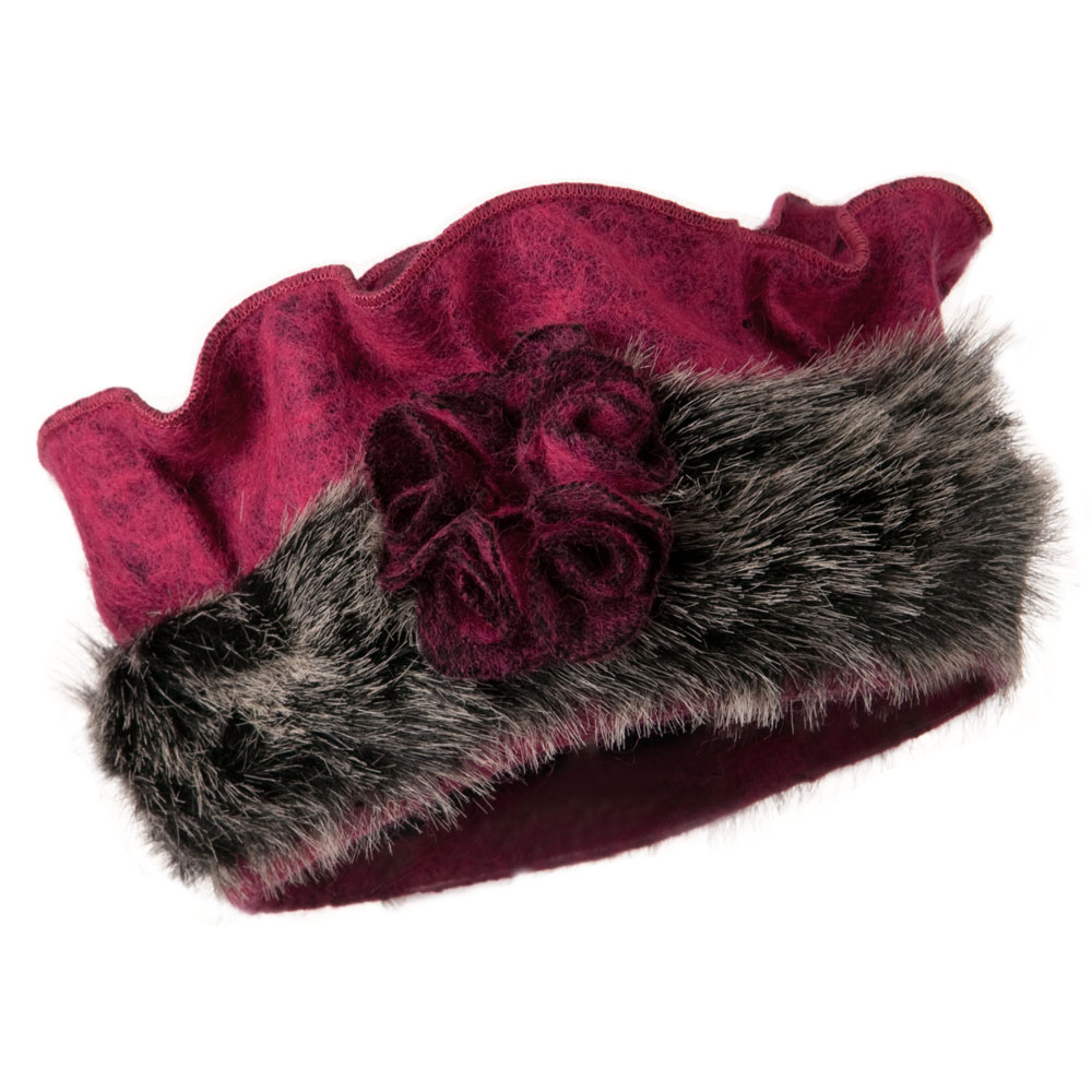 Fur Trim Wool Beret - Fuschia - Hats and Caps Online Shop - Hip Head Gear