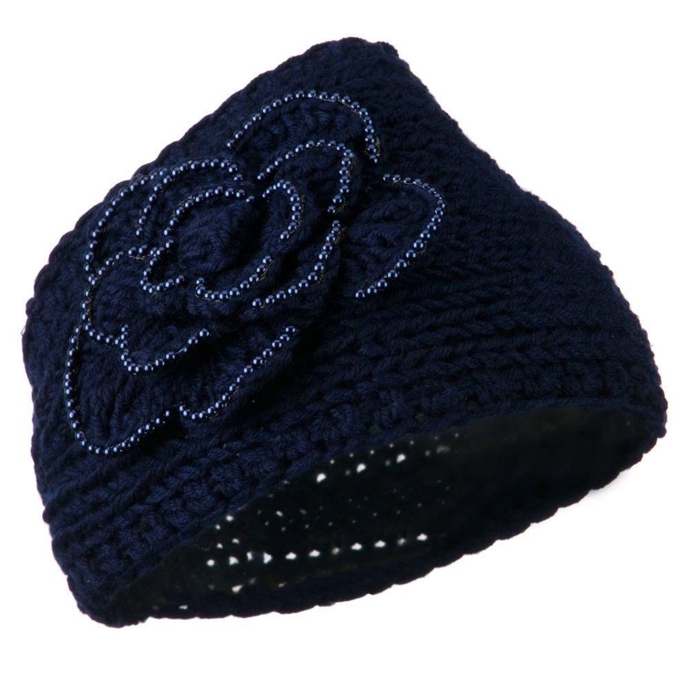 Flower Bead Woman's Head Band - Navy - Hats and Caps Online Shop - Hip Head Gear