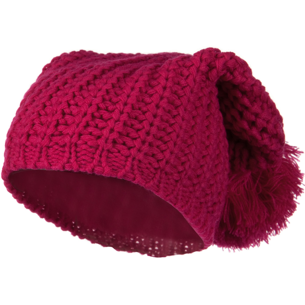 Fall Back Pom Pom Knit Hat - Hot Pink - Hats and Caps Online Shop - Hip Head Gear