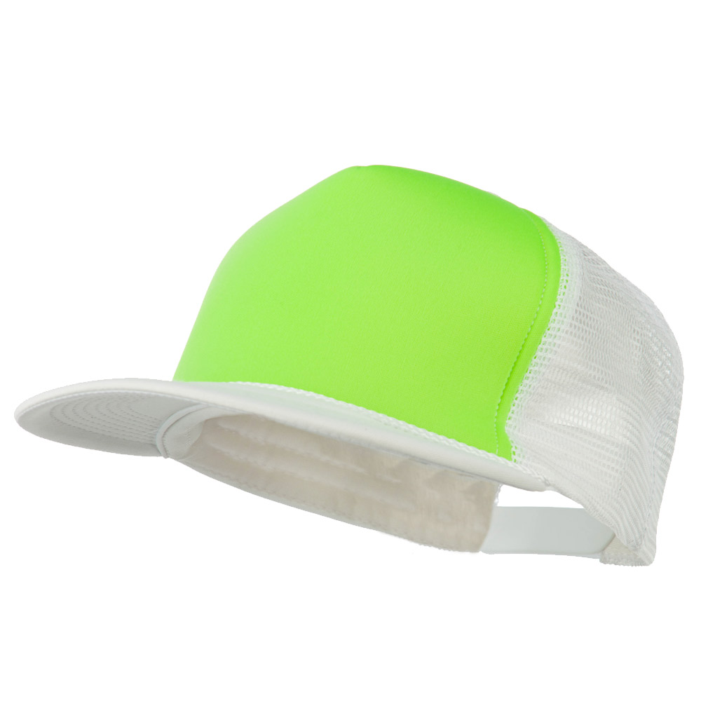 Flat Bill Neon Trucker Cap - White Green