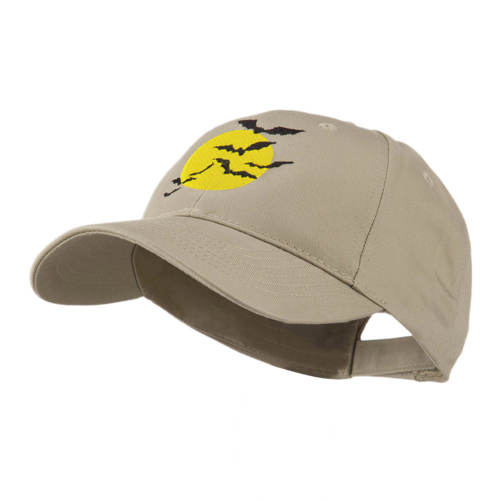 Flying Bats with Moon Embroidered Cap - Khaki - Hats and Caps Online Shop - Hip Head Gear