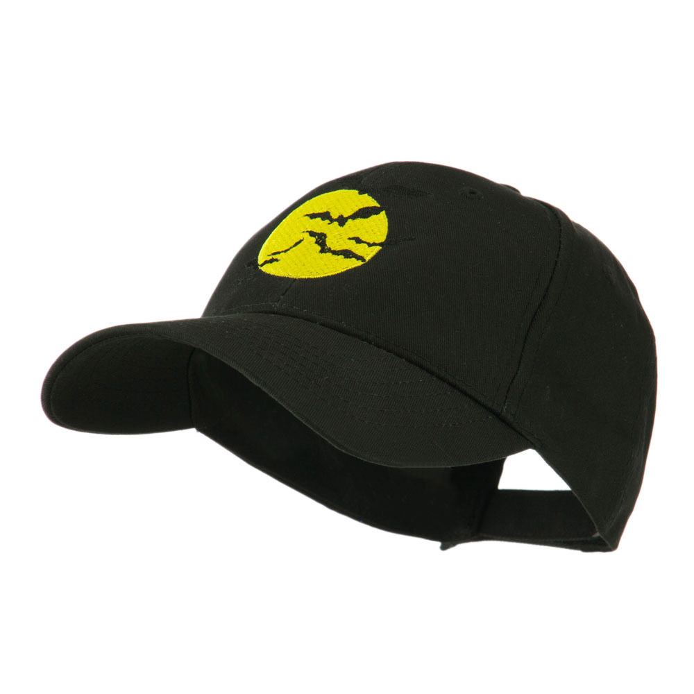 Flying Bats with Moon Embroidered Cap - Black - Hats and Caps Online Shop - Hip Head Gear
