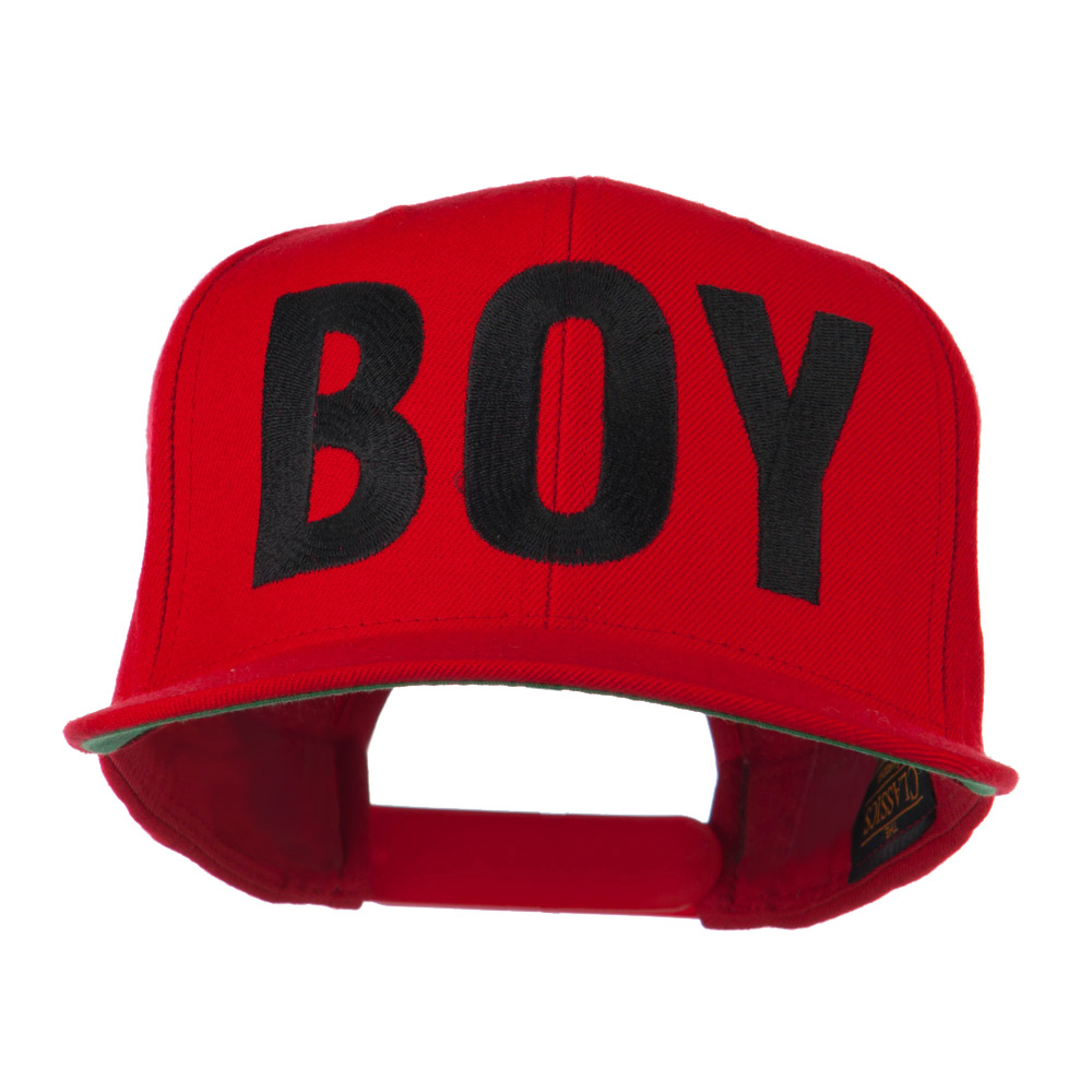 Flat Bill Hip Hop Casual Boy Embroidered Cap - Red - Hats and Caps Online Shop - Hip Head Gear