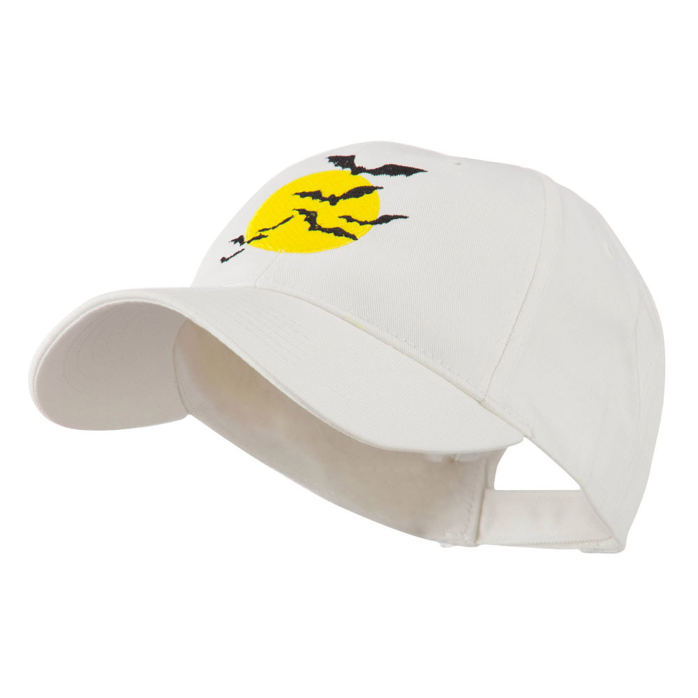 Flying Bats with Moon Embroidered Cap - White - Hats and Caps Online Shop - Hip Head Gear