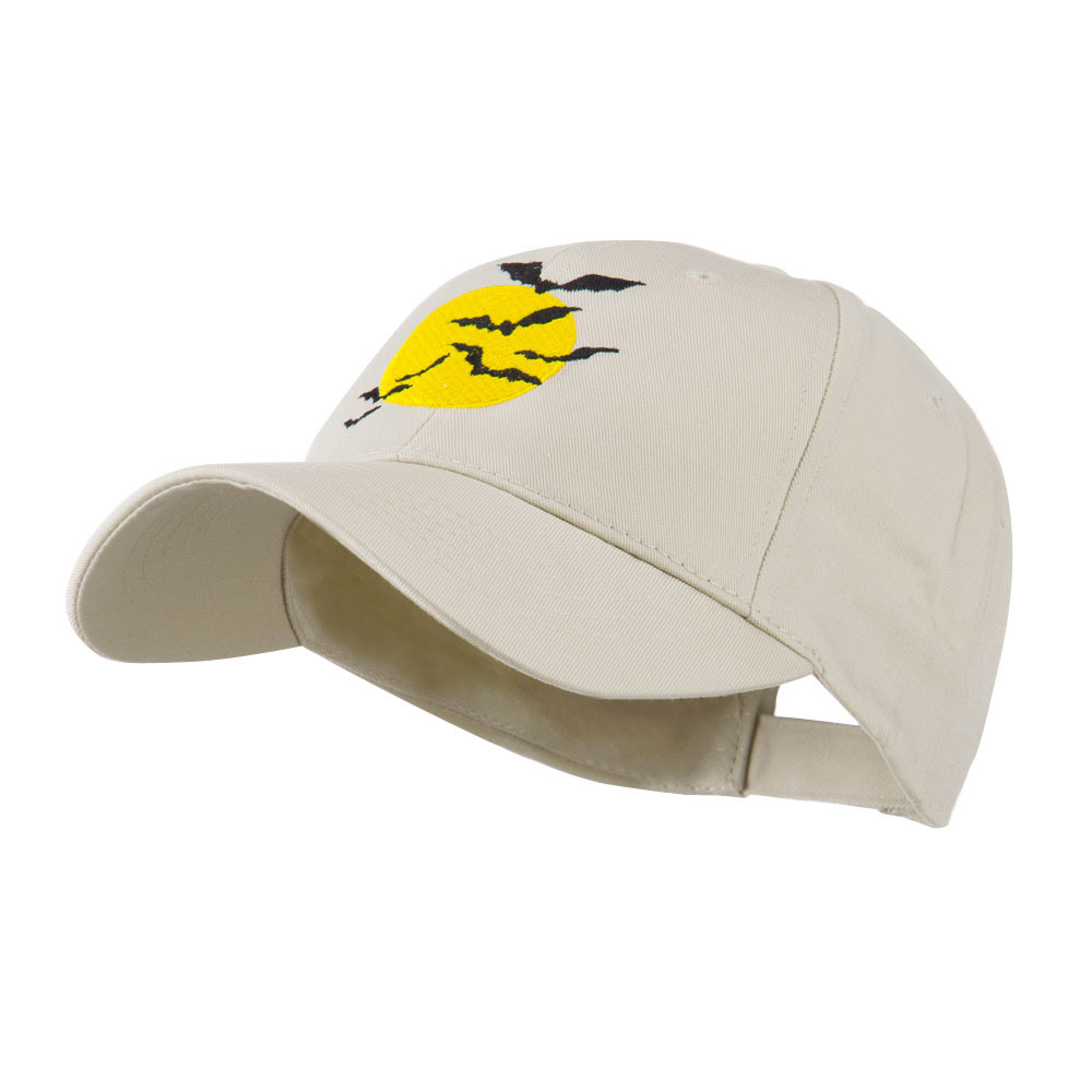 Flying Bats with Moon Embroidered Cap - Stone - Hats and Caps Online Shop - Hip Head Gear
