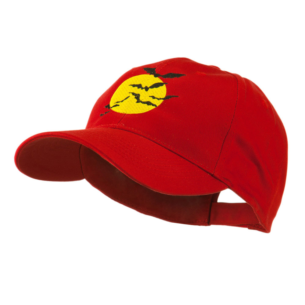 Flying Bats with Moon Embroidered Cap - Red - Hats and Caps Online Shop - Hip Head Gear