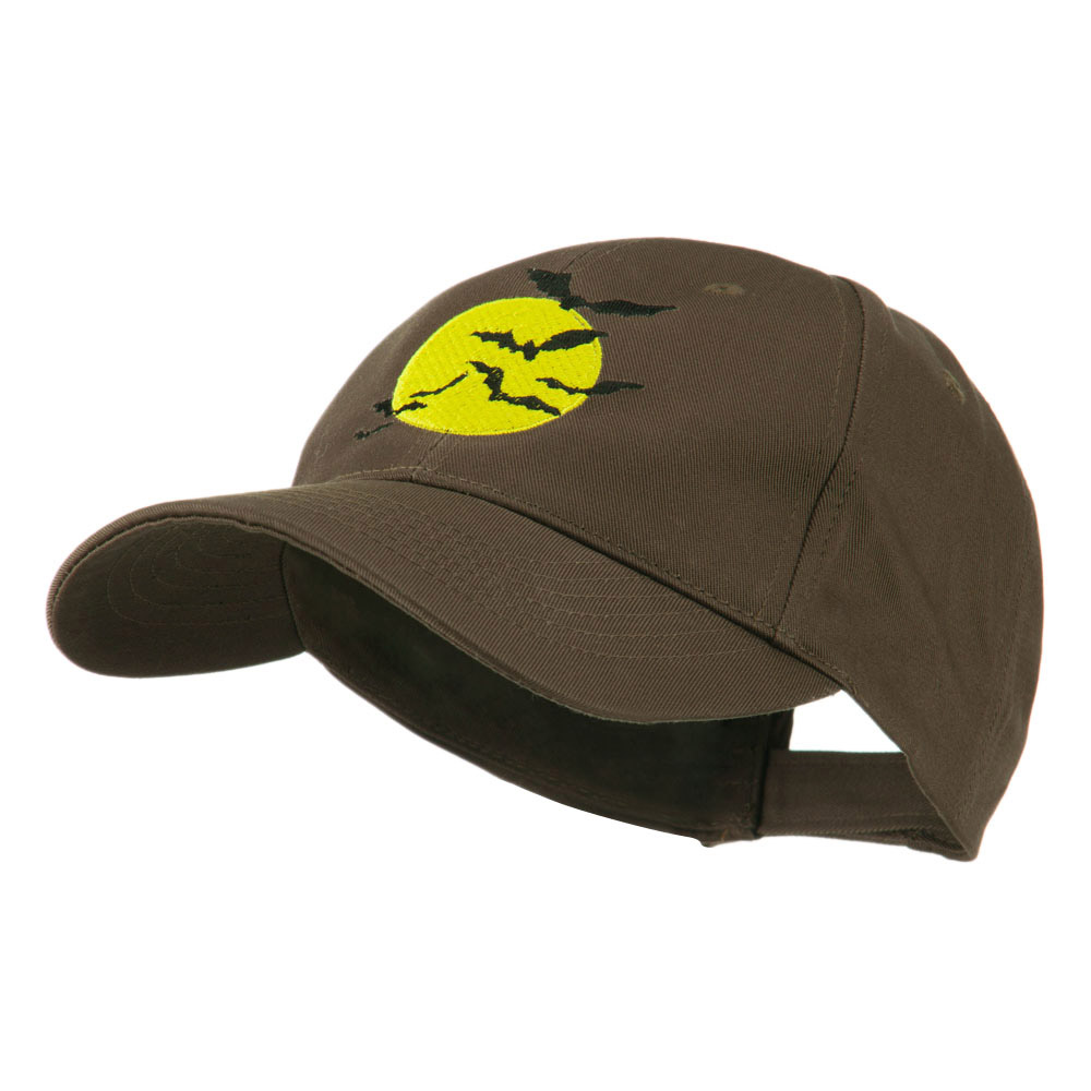 Flying Bats with Moon Embroidered Cap - Brown - Hats and Caps Online Shop - Hip Head Gear