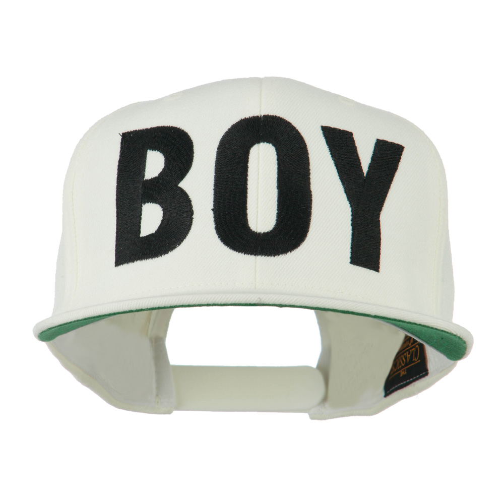 Flat Bill Hip Hop Casual Boy Embroidered Cap - White - Hats and Caps Online Shop - Hip Head Gear