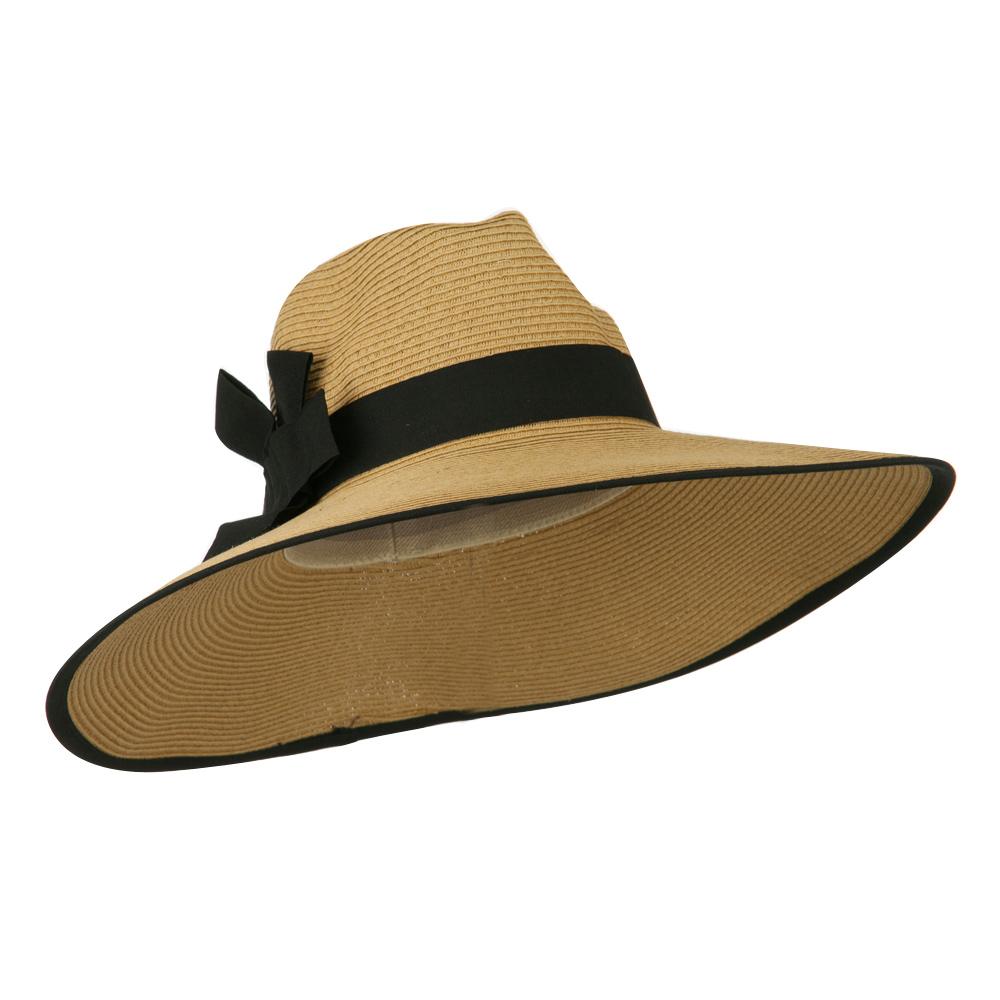 UPF 50+ Fedora Crown Paper Braid Hat - Tan Black - Hats and Caps Online Shop - Hip Head Gear