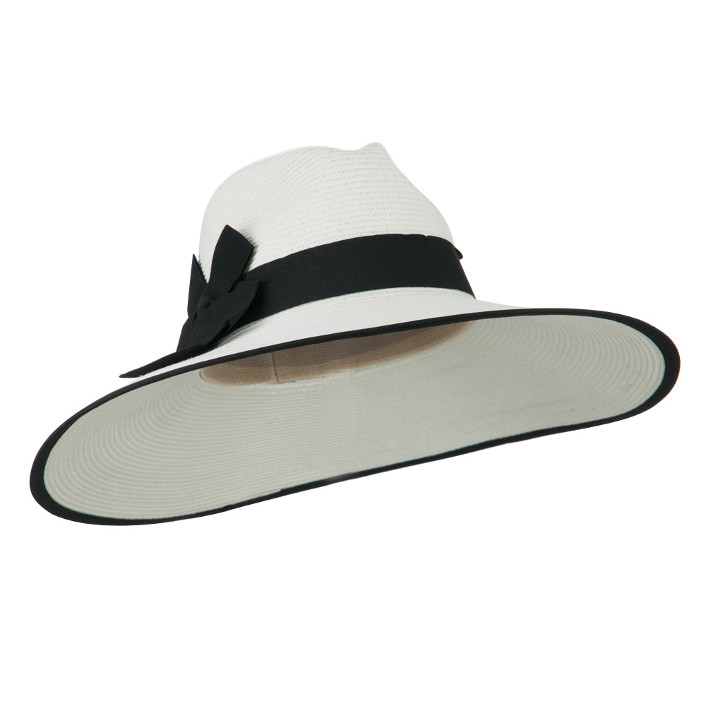 UPF 50+ Fedora Crown Paper Braid Hat - White Black - Hats and Caps Online Shop - Hip Head Gear