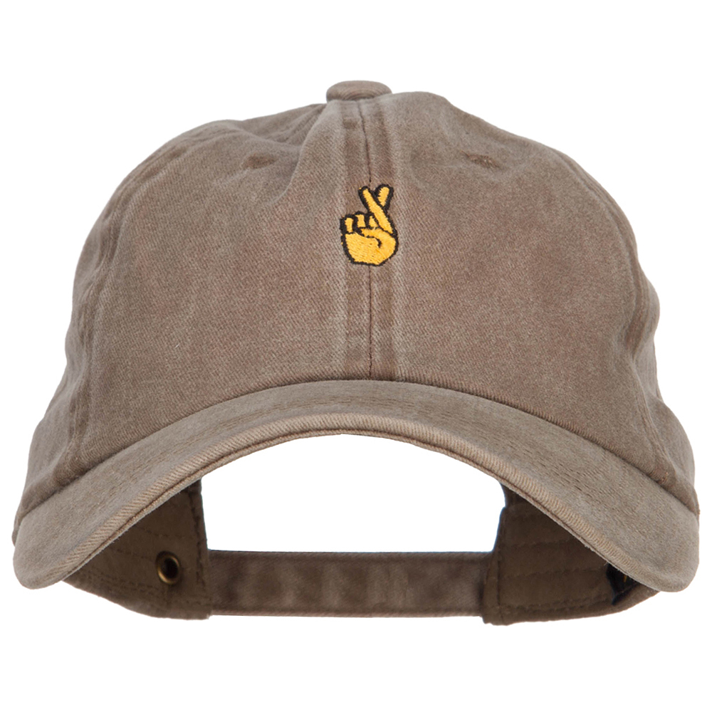 Mini Fingers Crossed Embroidered Unstructured Dyed Cap - Khaki