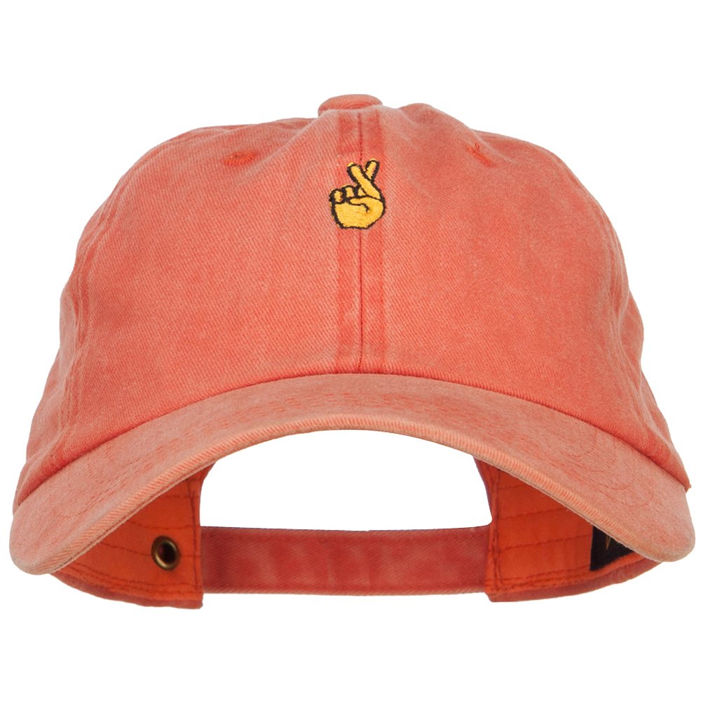 Mini Fingers Crossed Embroidered Unstructured Dyed Cap - Orange
