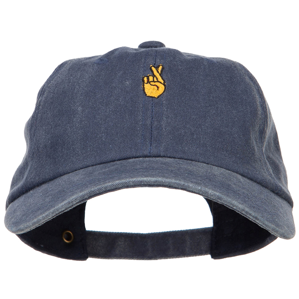Mini Fingers Crossed Embroidered Unstructured Dyed Cap - Navy