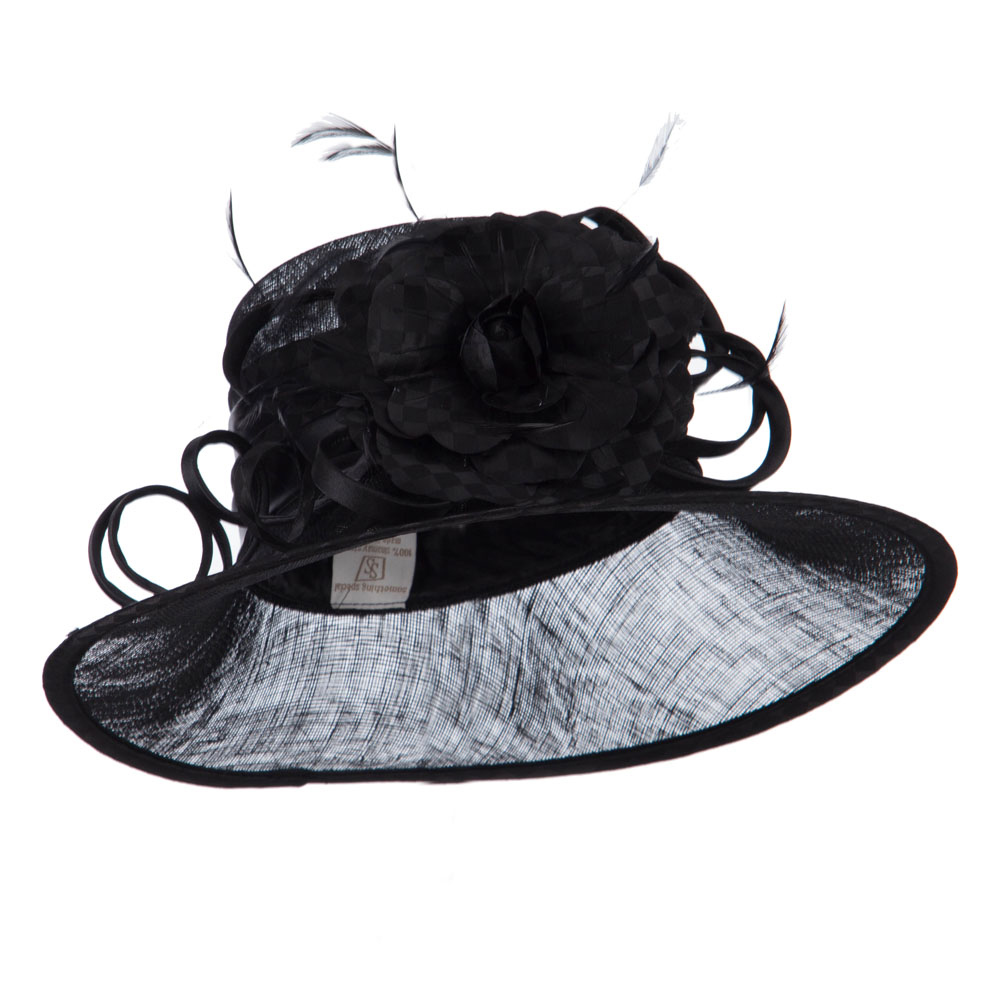 Flower Accent Double Band Sinamay Hat - Black - Hats and Caps Online Shop - Hip Head Gear